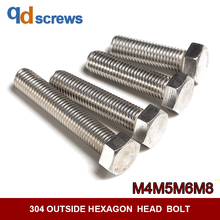 304 M4M5M6M8 outside hexagon head  screw stainless steel bolt DIN933 GB5783 ISO 4017 JIS B 1180.4