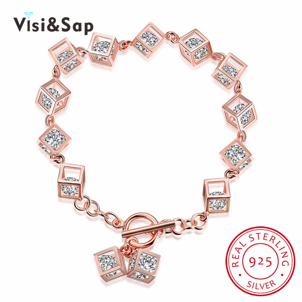 Visisap 925 Sterling Silver Jewelry Bracelets For Women Box Personality  Square Bracelet Unique Wedding Gift Jewelry
