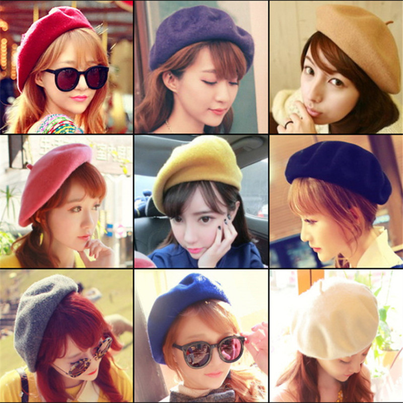Hot Sale 2018 Cheap Fashion New Women Wool Solid Color Beret Hats Women Winter All Combined Warm Hat Walking Hat Cap 19 Color(China)