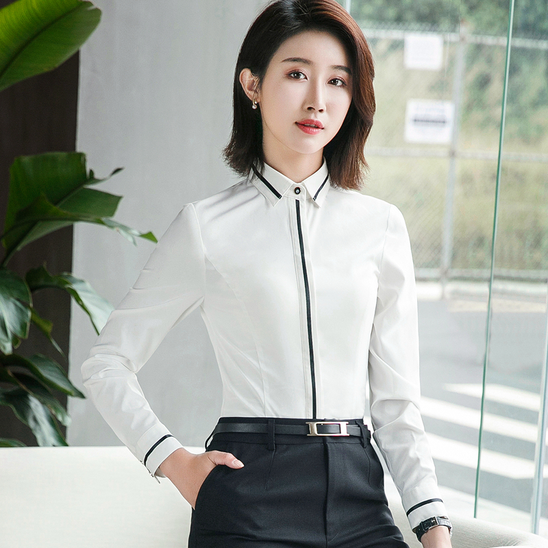 Autumn OL Elegant Slim Shirt Women Long Sleeve Blouse Stand Collar Formal Blusas Mujer Office Ladies Kimono Cardigan Fashion Top