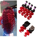 4 Bundles With Closure Red Ombre Brazilian Hair With Closure Human Hair Extensions Ombre Red Body Wave With Closure Bundle Deal