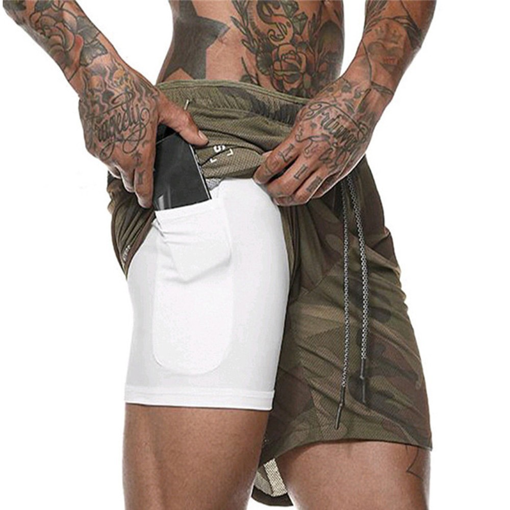 New Summer Fashion Men's Shorts 2 In 1 Running Large Size Quick-Drying Mesh Straight Five Training Sports Fitness Shorts Pocket(China)