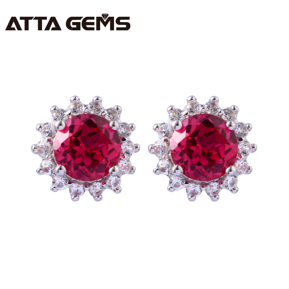 Ruby Sterling Silver Stud Earrings for Women Wedding Anniversary Gifts for Celebrations Faced Round Created Ruby Stud Earrings