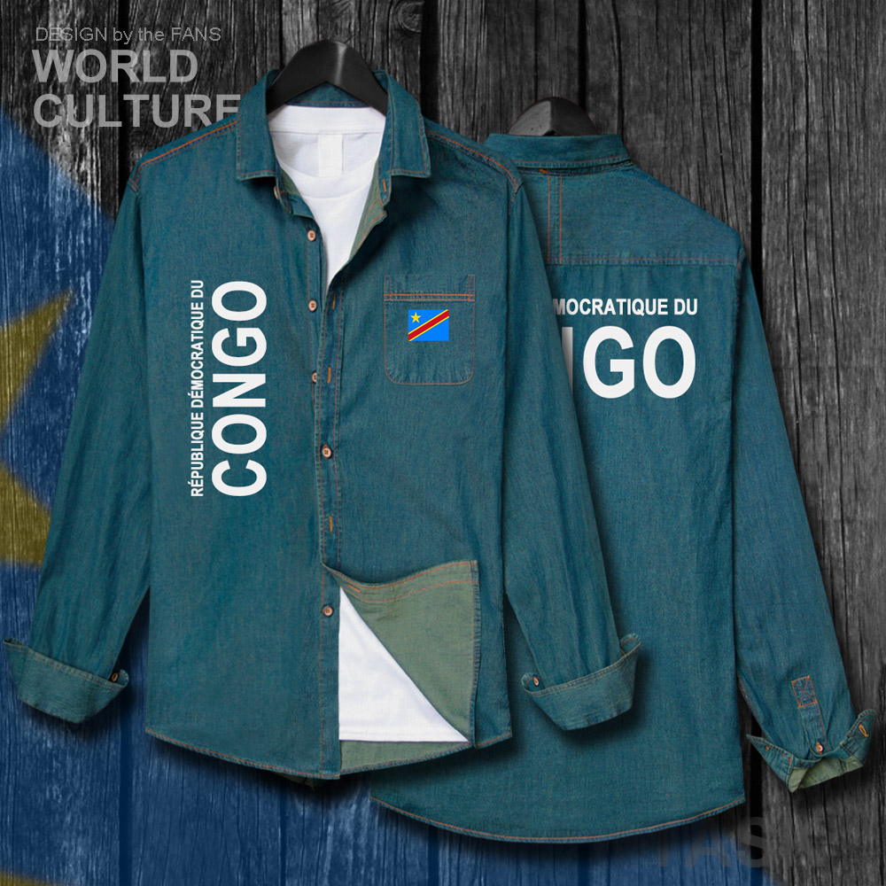 DR Congo COD DRC DROC Congo-Kinsha Congolese Men Clothes Autumn Cotton Flag Top Turn-down Jeans Shirt Long Sleeve Cowboy Coat