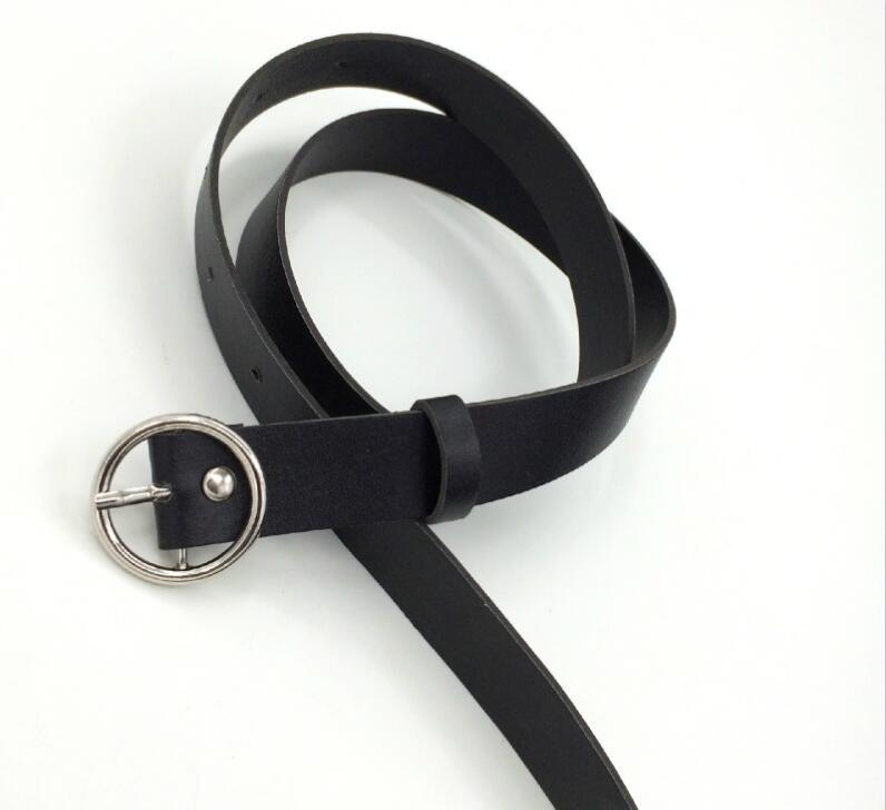 Женский кожаный ремень, новые круглые пряжки, ремни для женщин, для досуга, джинсы, дикие, без шпильки, металлическая пряжка, женский ремень - Цвет: Style 2 BlackSilver
