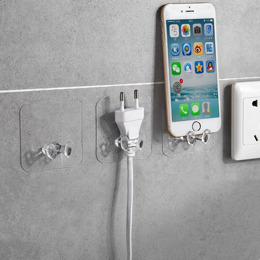 Transparent Home Office Wall Powerful Adhesive Plastic Power Plug Socket Holder Hanger Wall Storage Hook