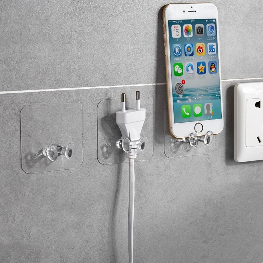 Transparent Home Office Wall Powerful Adhesive Plastic Power Plug Socket Holder Hanger Wall Storage Hook