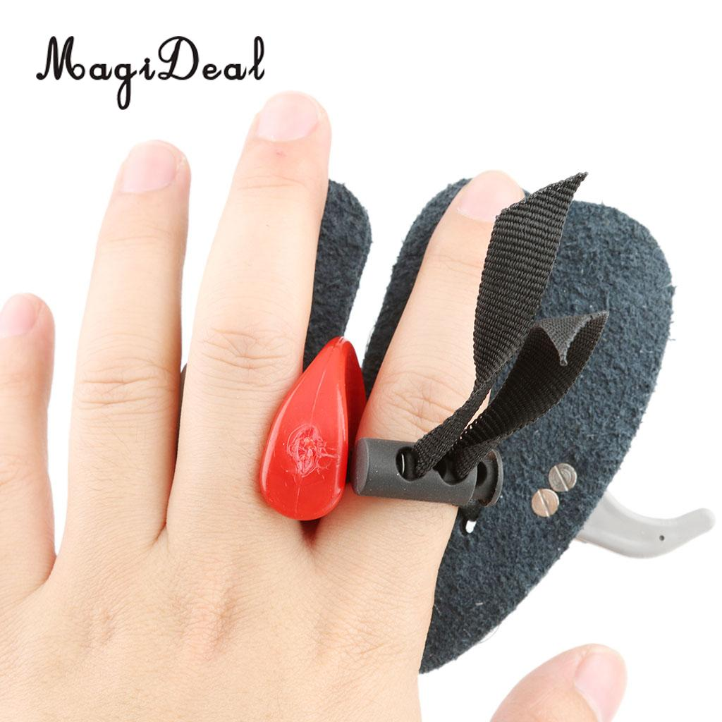MagiDeal Leather Archery Finger Tab Guard Protection Glove Stainless Steel Buckle Outdoor Hunting Shooting Acessories