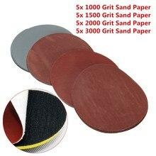 20 штук 5 дюймов 123 мм круглые шлифовальные диски 1000#1500#2000#3000# зернистость крюк-петля полировка абразивная Шкурка наждачная инструмент для дерева и металла