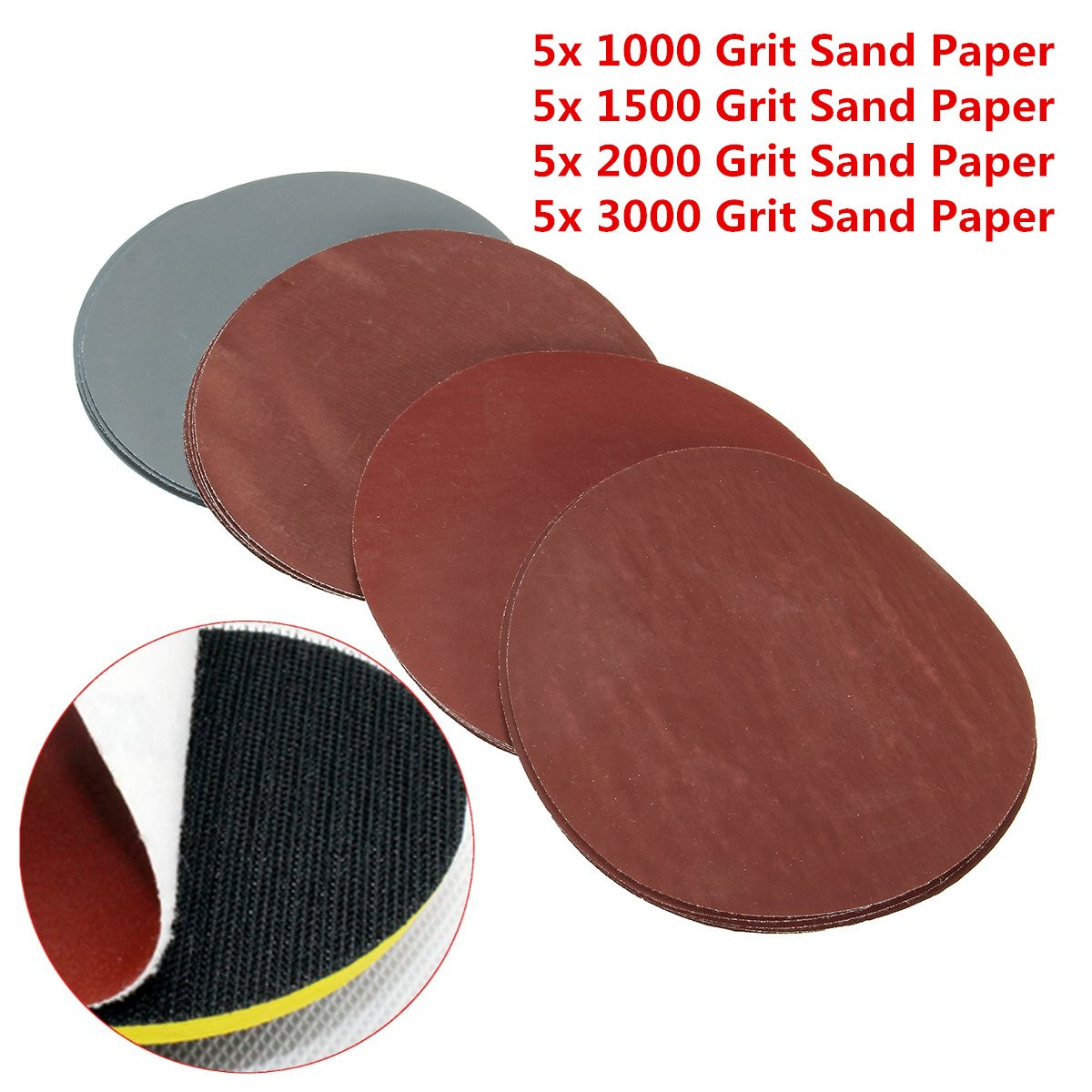 20Pcs 5inch 123mm Round Sanding Discs 1000# 1500# 2000# 3000# Grit Hook Loop Polishing Sandpaper Abrasive Tool For Wood Metal