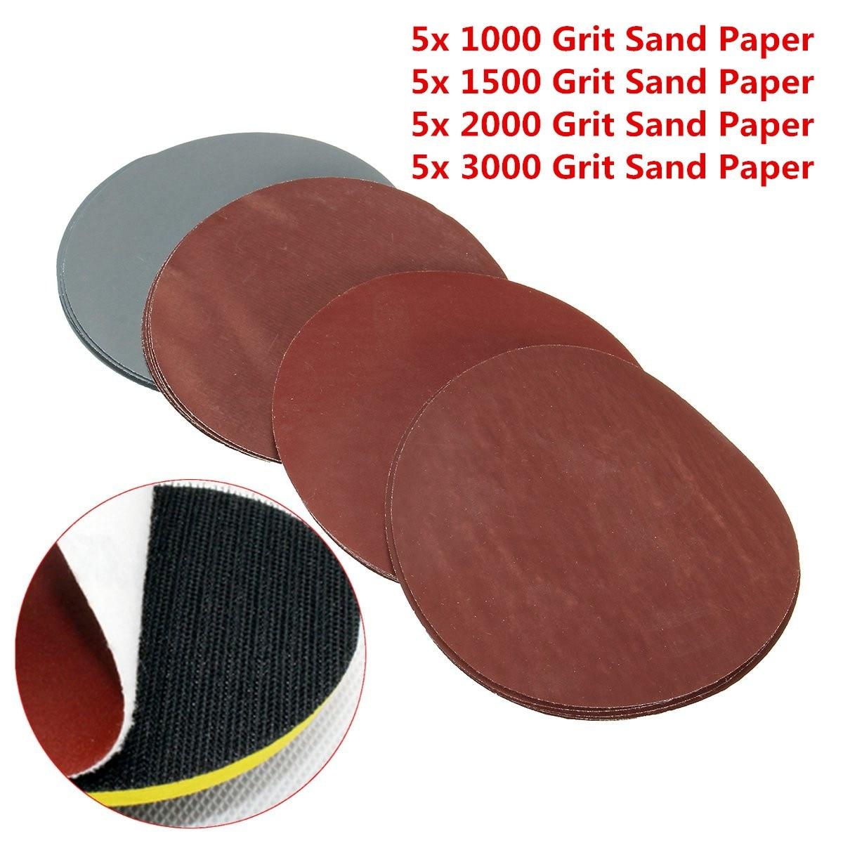 20Pcs 5inch 123mm Round Sanding Discs 1000# 1500# 2000# 3000# Grit Hook Loop Polishing Sandpaper Abrasive Tool For Wood Metal