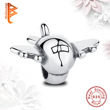 Real 925 Sterling Silver Airplane Floating Charms Fit Pandora Bracelet