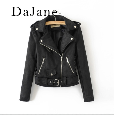 DaJane New women's Street Motorcycle   Suede     Leather   Jacket Jacket   Leather   Jacket Women