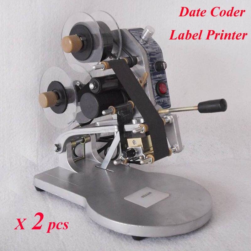 ФОТО HOT! 2pcs/lot Manual Hot Foil Stamp Date Coder Label Printer Ribbon Coding Machine DY-8