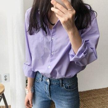 Spring Women Blouse Striped Turn-down Collar Office Lady Tops Full Sleeve Women Shirts Light Purple Fashion Female Tops blusas 5