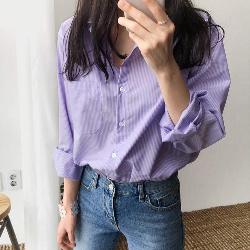 One Pocket Women's Blouse and Tops Turn-down Collar Full Sleeve Women Shirts Light Purple Female Tops blusas mujer de moda 2019