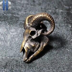 Image 3 - เดิม 925 เงินทองเหลือง Skull กระทะขนาดใหญ่แพะ Skull แขวนสร้อยคอ Key Link Dark สำหรับผู้ชายและผู้หญิง