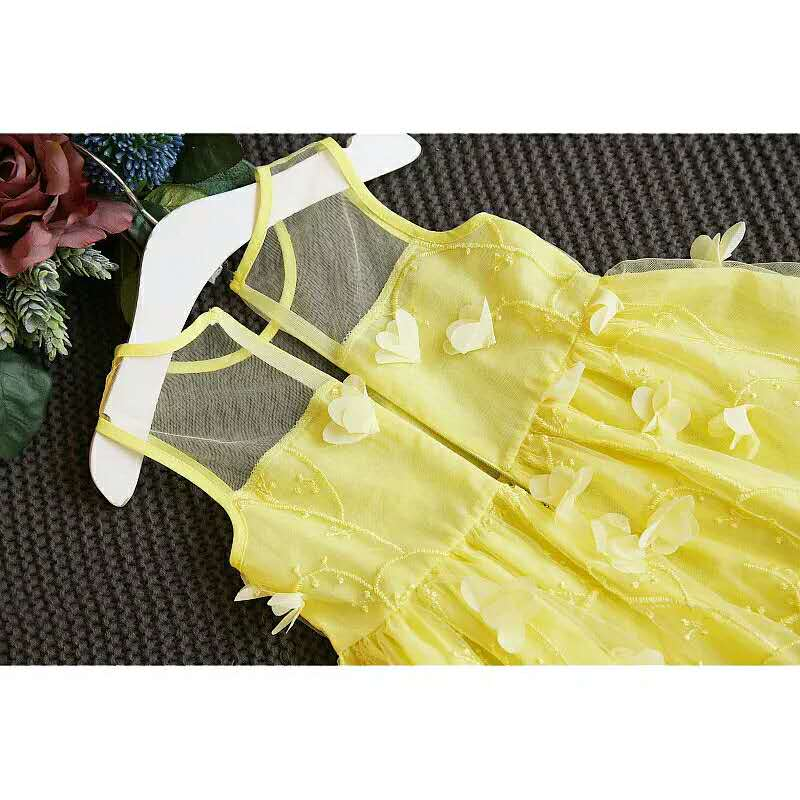 Lace Teenagers Dress for Baby Kids Girls Wedding Elegant Princess Party Pageant Cute Butterfly Sleeveless Girl Clothes Dresses