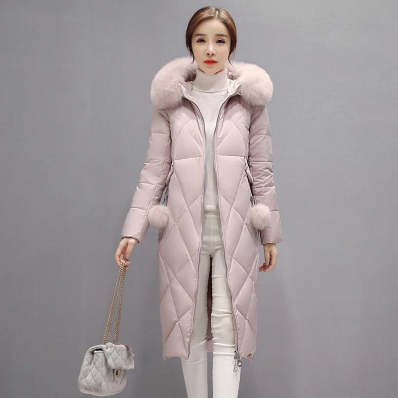 2017 new Winter Women Parkas white duck   Down     Coats   Fox Fur Hoody Lady Warm Outerwear slim Overcoat Plus Size warm jackets QH0894