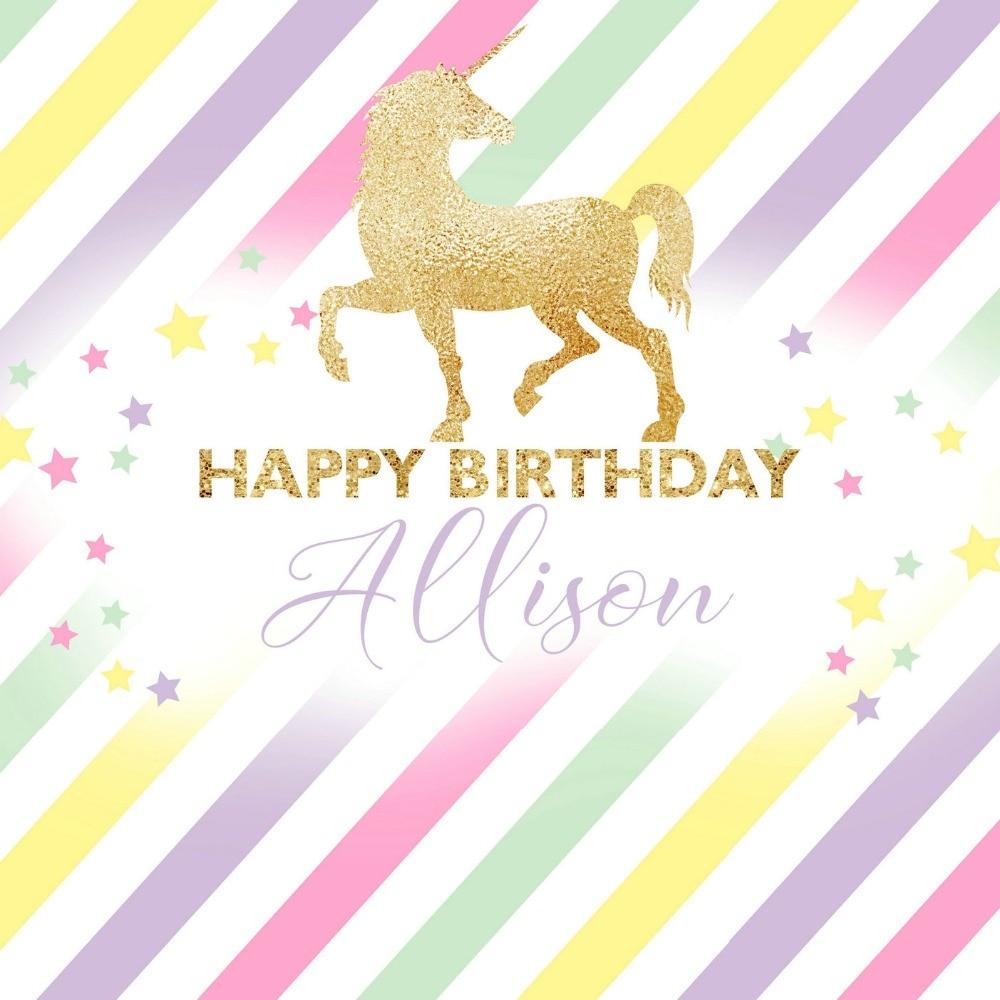 Custom Gold Unicorn Rainbow Happy Birthday Striped Star