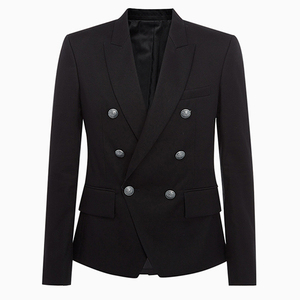 Image 2 - HIGH QUALITY Runway 2020 Designer Mens Blazer Classic Double Breasted Metal Lion Buttons Blazer Jacket Outer Wear