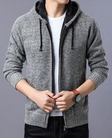 New 2019 hot sweater men's fleece thickening and pile cap knitting cardigan male warm coat of cultivate one's morality
