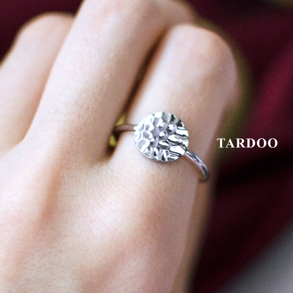Tardoo Simple Round Rings 925 Silver Simple Round Circle Ring Fashion Jewelry For Women Lovely Simple Round Party Ring noble simple style round flower shape cuff ring for women