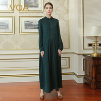 VOA Silk Green Casual Vintage Dresses Women Loose Long Sleeves Turn Down Collar Maxi Vestiti Donna