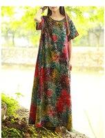 2017 New Summer Middle Age High Quality Cotton Linen Print Long Dress Vintage Elegant Large Size