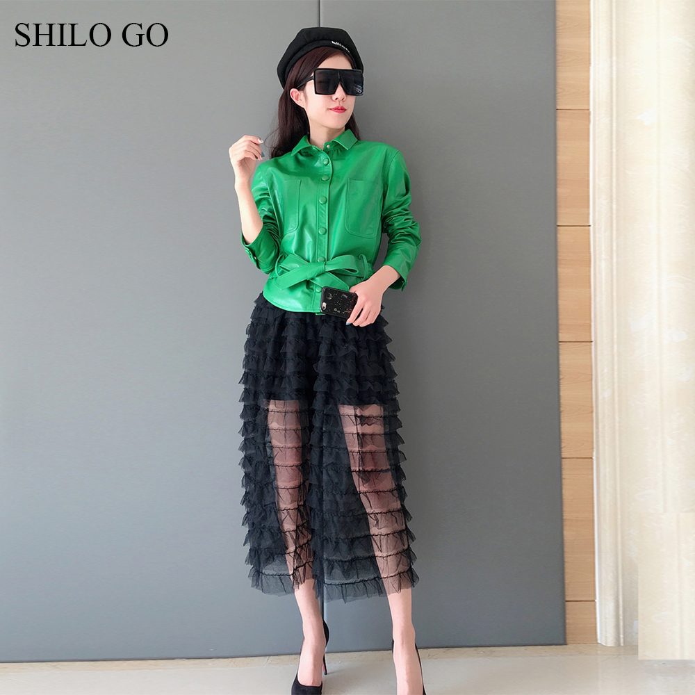 SHILO GO Leather Jacket Womens Spring Fashion sheepskin genuine leather coat lapel collar bow belt single breasted green coat