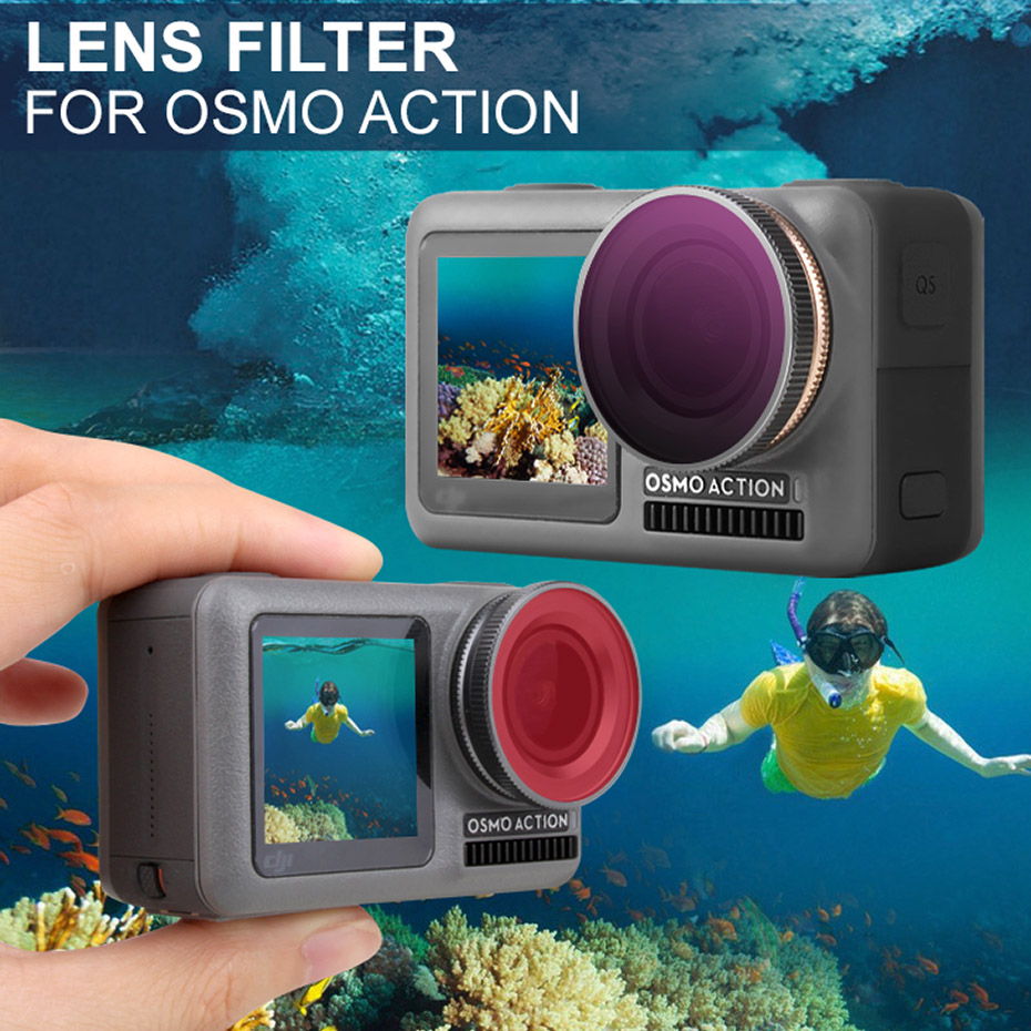For Osmo Action Lens Filter UV/Diving Red/Magenta/Pink Snorkeling Color Filter Set For DJI osmo Action Sport Camera Accessories