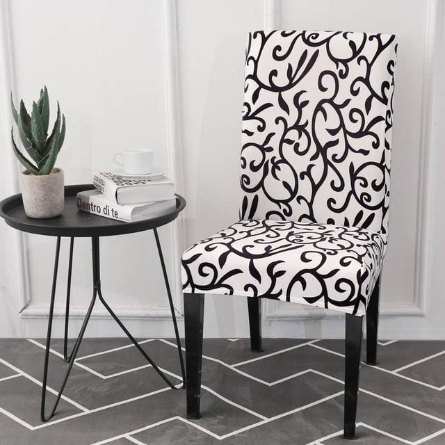 Branco Padrão Preto Capas de Cadeira Spandex Escritório Cozinha Mesa Tampa Da Cadeira Elástica Cadeira Slipcovers Cadeira cobre para Casamentos