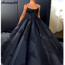 Ball-Gown Prom-Dresses Black Sweet 16 Satin Spaghetti-Straps Saudi Appliques Arabic Backless