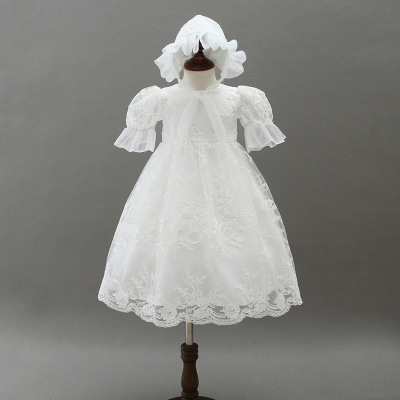 2018 Summer Vintage Lace Christening Gown Long Style Baptism White 1st Birthday Party Baby Girl Wedding Princess Dress