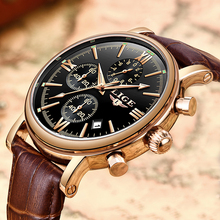 LIGE New Mens Watches Top Brand Waterproof Sports Watch Automatic Date Casual Brown Leather Quartz Clock Relogio Masculino