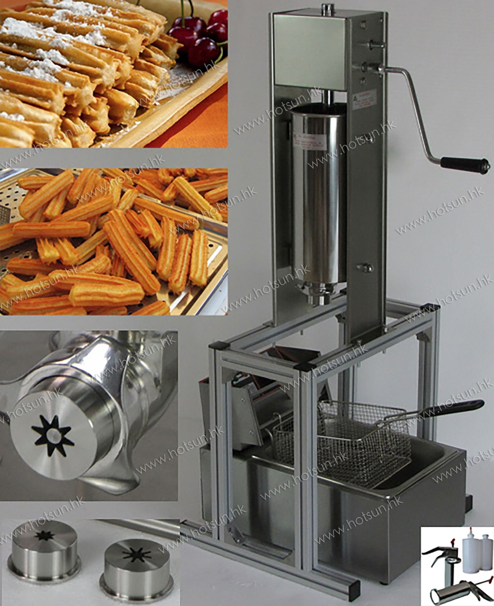 3 in 1 5L Manual Spainish Churros Machine Maker with Support + 6L 110v 220v Electric Deep Fryer + 700ml Churro Jam Filler 5l stainless steel spanish churro maker fried dough sticks machine with 6l electric fryer commercial churros machine
