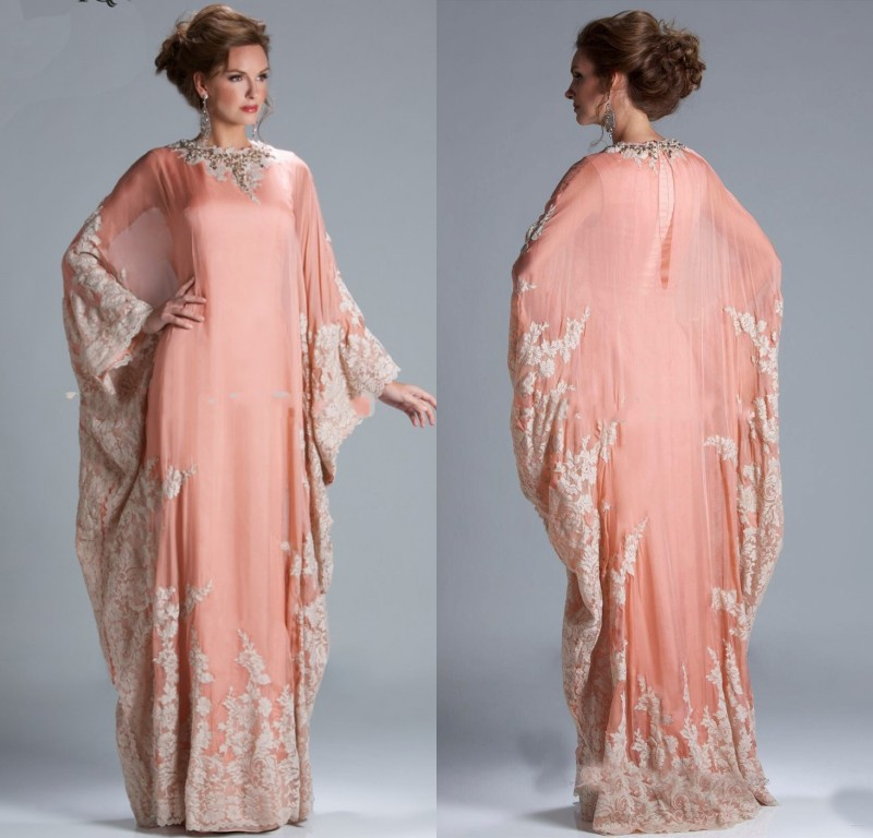 2015 Latest Dress Designs Long Fashion Coral Long Elegant Evening Dresses Abaya In Dubai Arabic Style gown