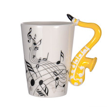 Nueva Saxofón De Cerámica Tazas de la Taza de Porcelana Taza de Té Drinkware Music Notes Home Office
