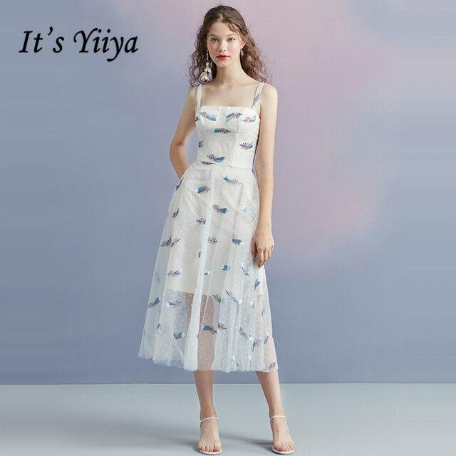 Its Yiiya Prom Dresses Girls Sleeveless Spaghetti Strap Embroidery