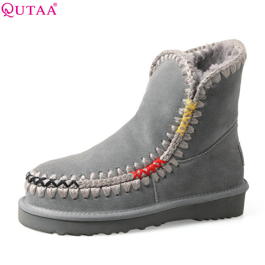QUTAA 2018 Women Ankle Snow Boots Fashion Keep Warm Round Toe Square Low Heel Winter Lace Up All Match Women Boots Size  34-39 lin king hot sale women snow boots lace up flock solid high top ankle boots round toe thick sole low heel warm wintrer boots