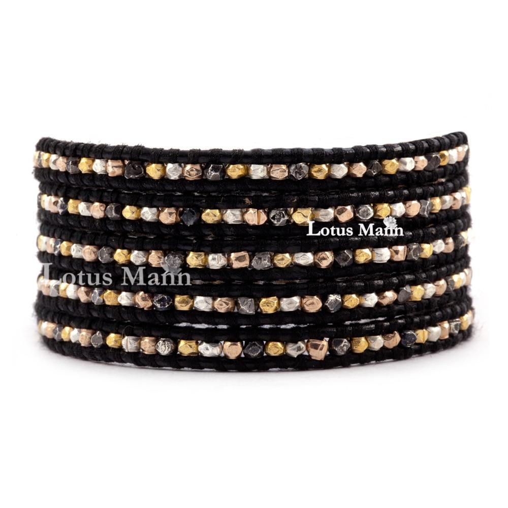 купить Classic brown black leather beads 5 wraps bracelet по цене 10910.2 рублей