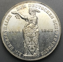 German States Shooting Festival Frankfurt 1862 1 Thaler Brass Silver Plated Copy Coin