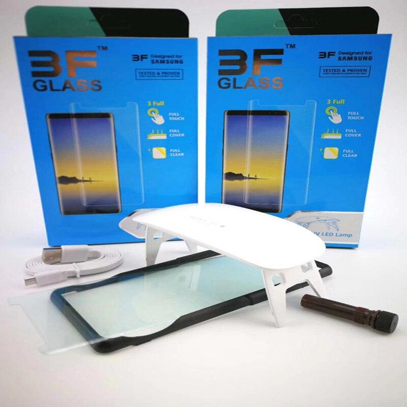 0,2mm UV Flüssigkeit Voll Kleber Gehärtetem Glas Screen Protector Für Samsung Galaxy S9 S9 Plus Hinweis 9 2 stücke glas + 2 stücke Kleber + 1 Große Licht