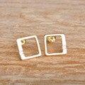 OL Style Zircon Copper Square Stud Earrings Gold Rhodium Plated Office Wedding Brincos Women Jewelry Mujer Oreja Oreille Bijoux