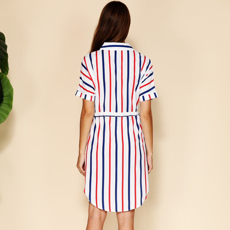 BEFORW 2019 Women Striped Print Summer Shirt Dress Turn Down Short Sleeve Elastic Waist Loose Dresses Female Streetwear Dress in Dresses from Women 39 s Clothing