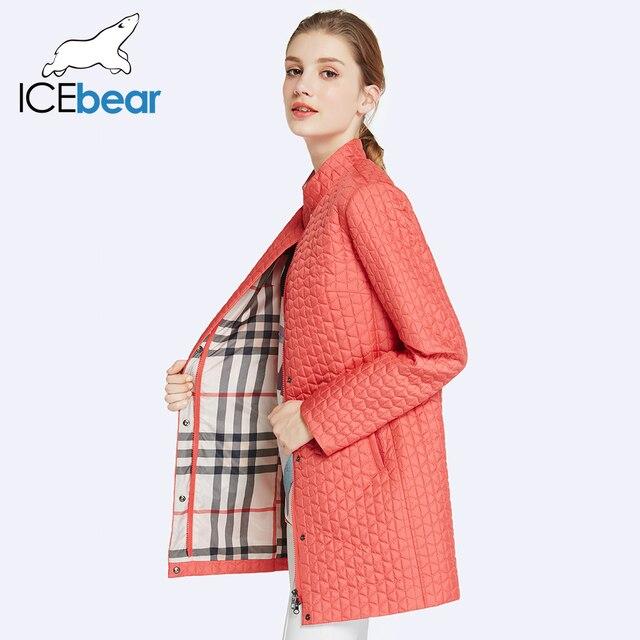 ICEbear 2017 Внутри Карман На Молнии Дизайн Хлопок Ватник Женщин Парки Длинные Тонкие женские Пальто Круглым Воротом 17G270D