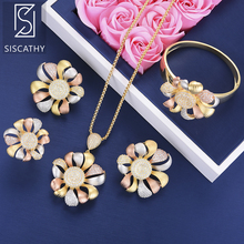 SISCATHY 4PCS Jewelry Luxury Flower Cubic Zirconia Bridal Wedding Necklace Stud Earrings Bracelet Ring Women Sets