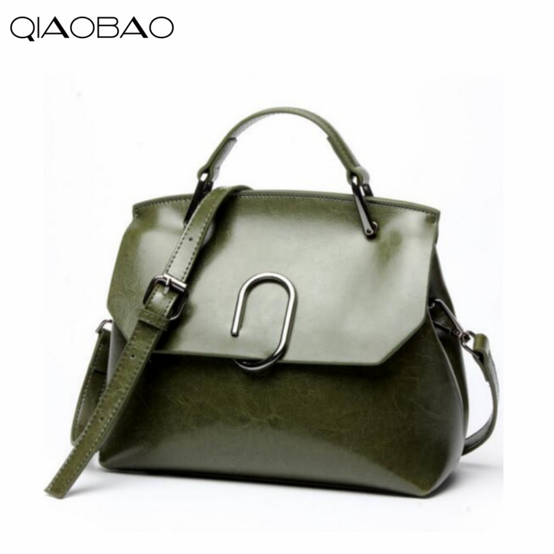 QIAOBAO 2018 Cowhide Leather Bag Newest European and American oil wax leather bag shoulder diagonal cross handbags qiaobao women general genuine leather handbags tide europe fashion first layer of cowhide women bag hand diagonal cross package