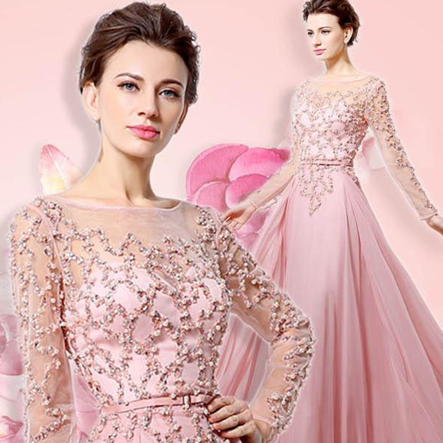 100% Real Beading Long Sleeves Evening Dresses Pink Chiffon Abendkleider Illusion Neckline Party Designs Prom Gowns OL051