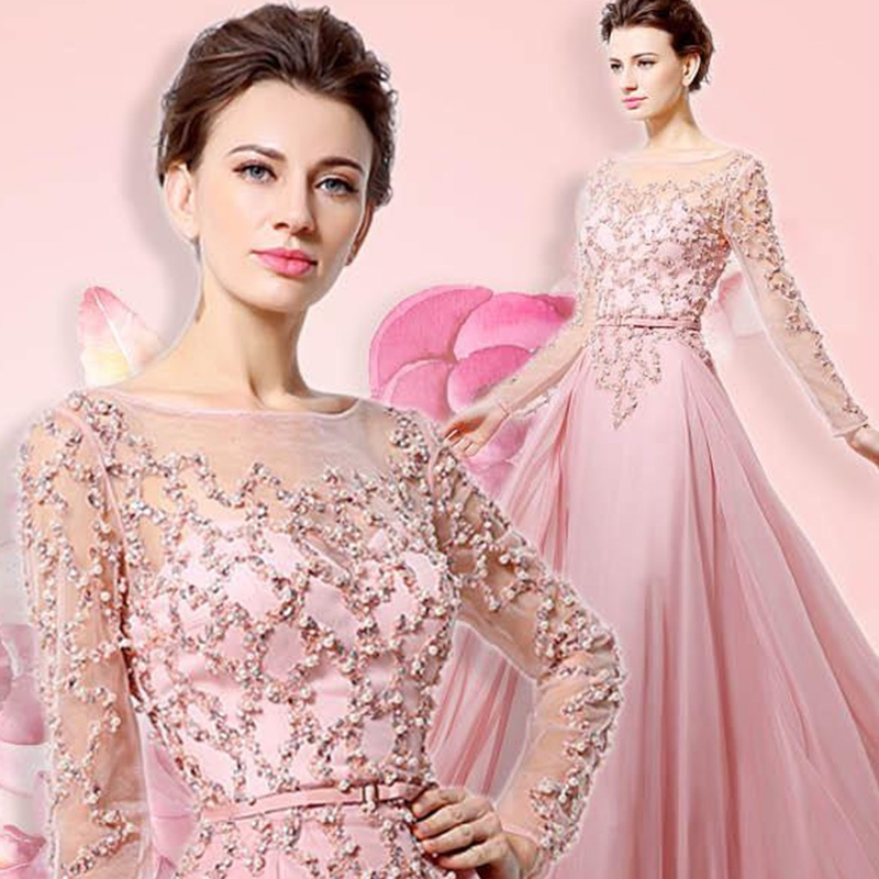 100% Real Beading Long Sleeves Evening Dresses Pink Chiffon Abendkleider Illusion Neckline Party Elegant Women Prom Gowns OL051